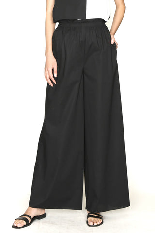 Black Paper Cotton Elasticated Waist Pajama Pant