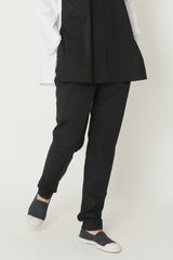 Black Lightweight Paper Cotton Tapered Back-Zip Flat Front Pant