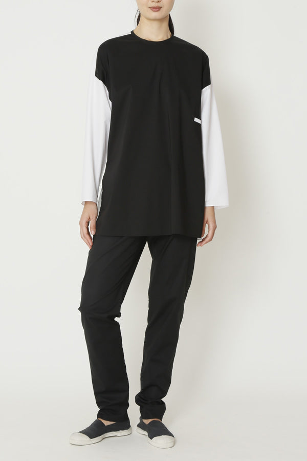 Black and White Paper Cotton Long Tunic Top with Front Welt Pocket and Side Slits