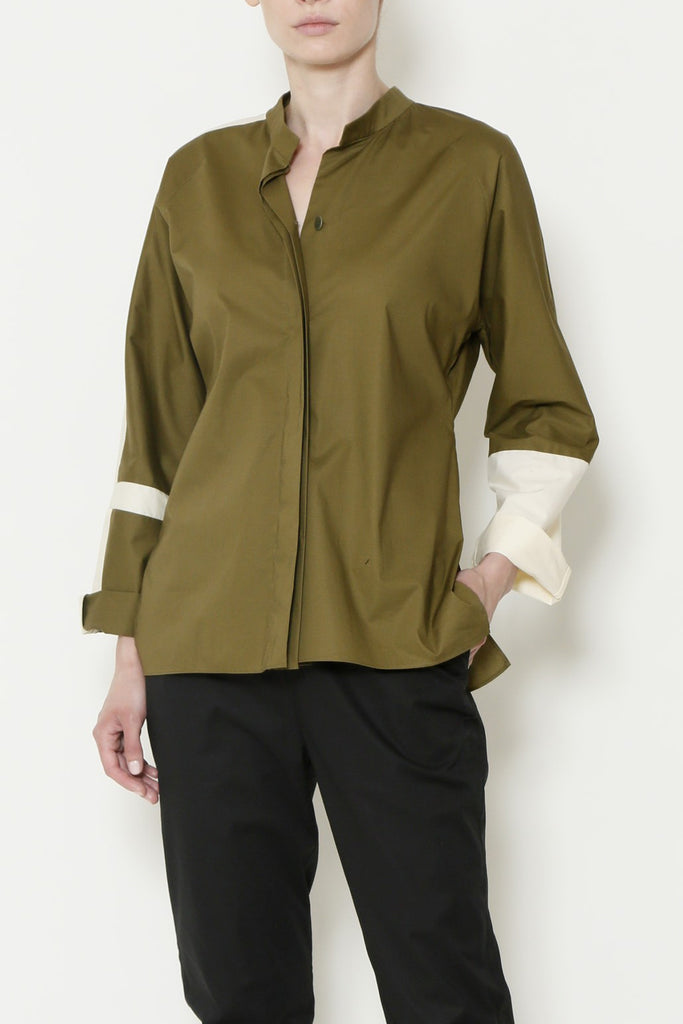 Paper Cotton Fitted Blouse with Contrast Cross on Sleeve