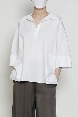 Paper Cotton One-Size-Fits-All Zero Waste Sustainable Tunic Top with Cuff and Side Pockets