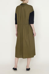 Loden Green and Black Paper Cotton One-Size-Fits-All Dress with Elasticated Back Waist