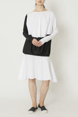 Black and White Lightweight Paper Cotton Long Sleeved Baseball Dress