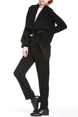 Drape Front Jacket in Smart Gab Microfiber