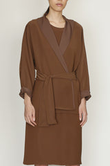 Smart Gabardine Kimono Sleeve Cardigan with Belt