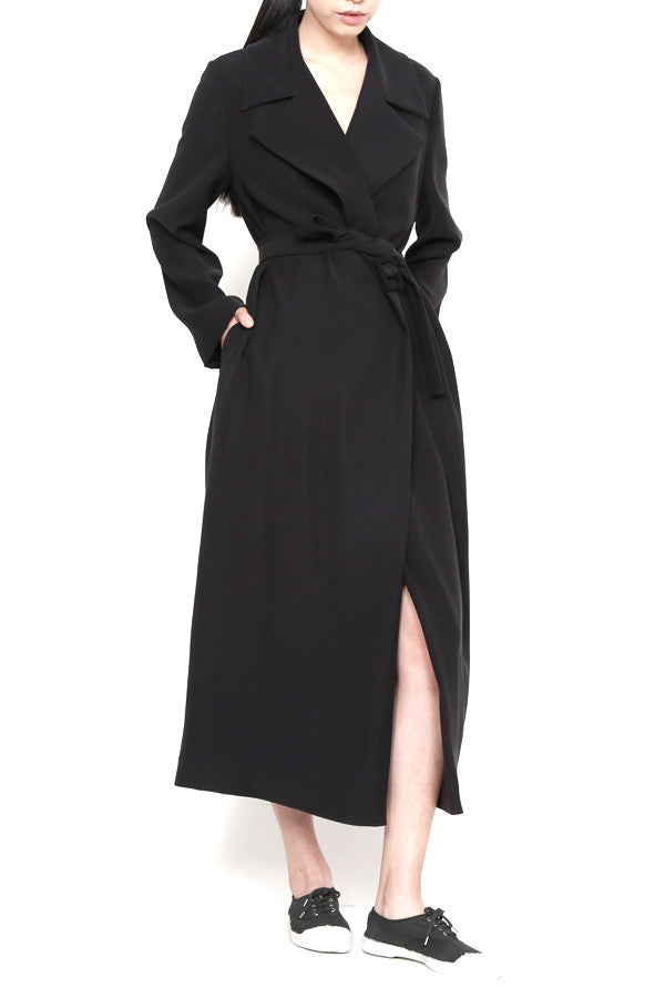 Gabardine Microfiber Long Trench Coat