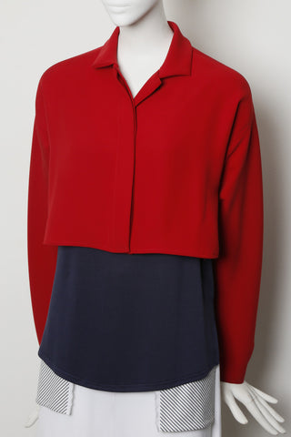 Red Microfiber Smart Gab Bolero Crop Shirt Jacket