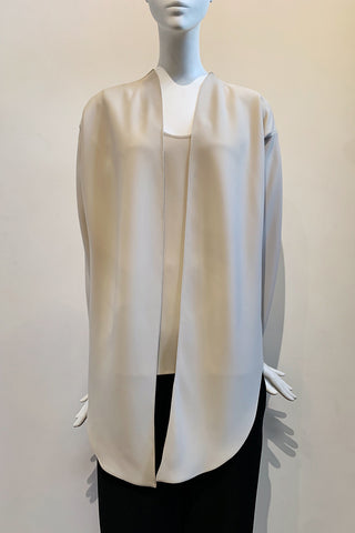 Microfiber Smart Gabardine Wrap Top with Back Zipper Closure