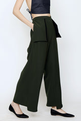 Smart Gabardine Elastic Back Wide Leg Holster Pocket Pant