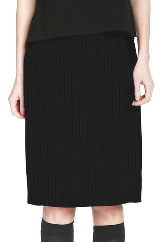 Black Wool Fil Coupé Slim Skirt