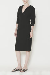 Smart Gabardine V-Neck Fitted Dress