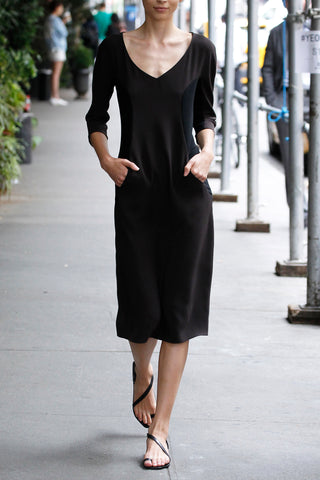 Wide V Neck Pocket Dress with Contrast Side Panels