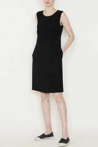 Smart Gabardine Sleeveless Dress with Side Pockets