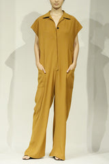 Smart Gabardine Turmeric Sleeveless Pocket Jumpsuit with Elastic Back