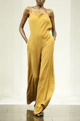 Smart Gabardine Turmeric Halter Jumpsuit with Spaghetti Straps and Elastic Back