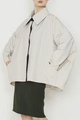 Beige Water Repellent Grid Cocoon Raincoat