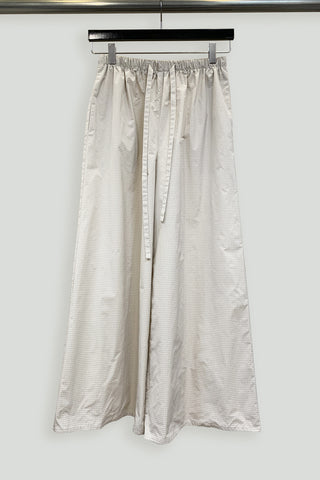 Beige Water Repellent Grid Drawstring Wide Leg Pant