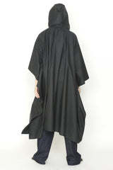 Black Matte Rainwear Zero-Waste Square Hem Hooded Zip Front Cape