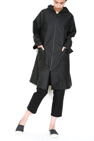 Zip Front Hooded Rain Jacket in Waterproof Fabric