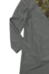 Camo Lined Matte Grey Raincoat with Vest