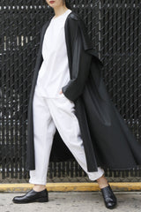 Water-Repellent Long Sweep Raincoat with Scarf Hood and Pockets