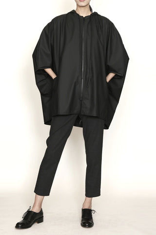 Hooded Pod Raincoat in Matte Water-Resistant Fabric
