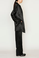 Black Satin One-Size Zig Zag Coat