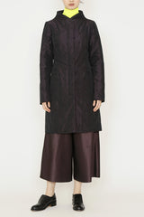 Dark Purple Quilted Kazimir Coat with Curved Collar and Side Pockets