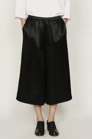 Black Satin Elasticated Waist Pajama Shorts
