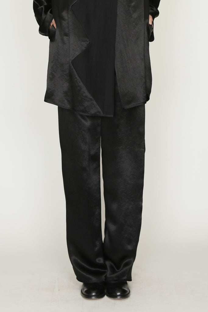 Black Satin Zig Zag Back Zip Pant