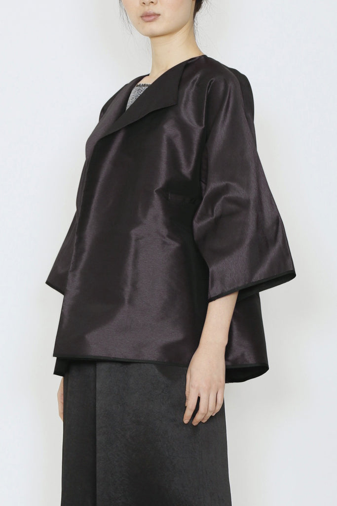 Dark Purple Taffeta Three-Pocket Kimono Jacket
