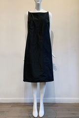 Black Poly Taffeta Slip Dress with Pockets