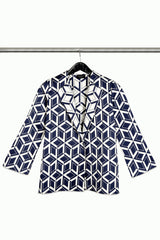 Blue and White GEO Jacquard Jacket