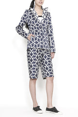 Geometric Jacquard Notch Collar Jacket