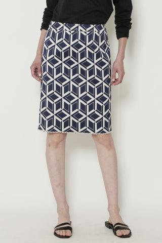 Blue and White GEO Jacquard Slim Skirt with Vent