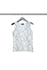 White and Grey WIRED Geometric Pattern Tank