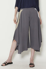 Silk Georgette Skirt Pant with White and Khaki Pocket Trim