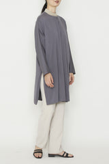 3-Ply Silk Long Tunic Jacket with Combo Collar and Side Pockets and Side Slits
