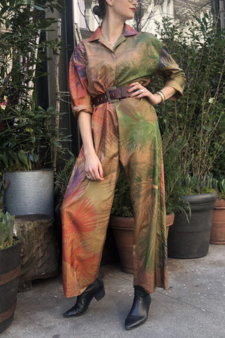 Silk Jungle Print Jumpsuit with Long Sleeves and Elastic Back and Shirt Collar