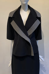 Diamond Jacquard and Microfiber Oversized Combo Collar Jacket with Hidden Pockets