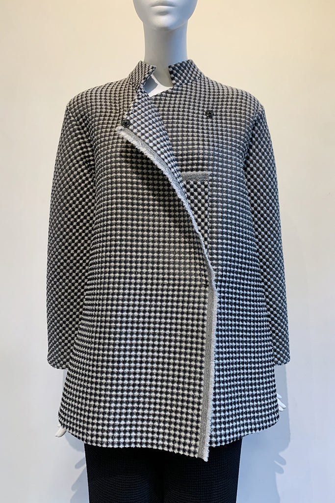 Wool Silk Blend Textured Diamond Piqué Pocket Jacket
