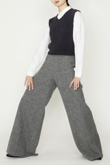 Grey Flannel Fleece Flat front Back Zip Flare Pant