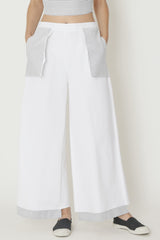 Lightweight White Denim Wide-Legged Holster Pocket Pants with Pinstripe Pockets and Step Hems