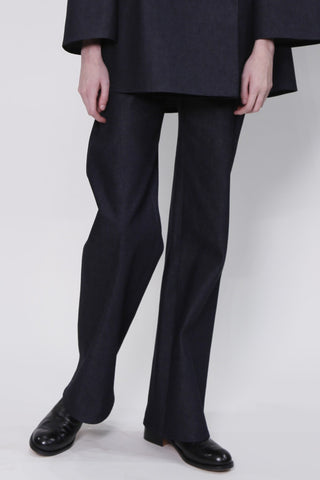 Dark Denim Trousers with Back Welt Pockets