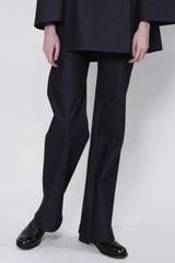Dark Denim Trouser with Back Welt Pockets