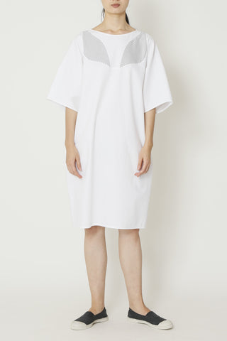 White Denim Dolman Sleeve Crisscross Dress with Pinstripe Inserts