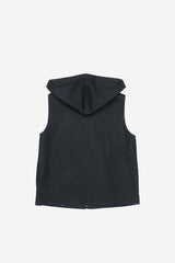 Dark Denim Drawstring Hood Vest with Front and Side Pockets