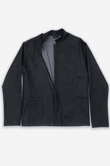 Dark Denim Unisex Three Pocket Mandarin Collar Jacket