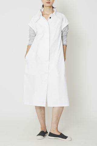 Lightweight White Denim Long Dress Coat with Large Collar and Pinstripe Combo Sleeves