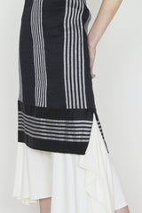 White and Navy Linen and Silk Blend Striped Fitted Sun Dress with Side Slits